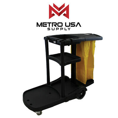 Black Commercial Janitorial Cleaning Cart Rolling Uitility Cart3 Shelvesvinly