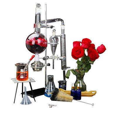 New 1000ml Lab Essential Oil Distillation Apparatus Pure Water Glassware Kits