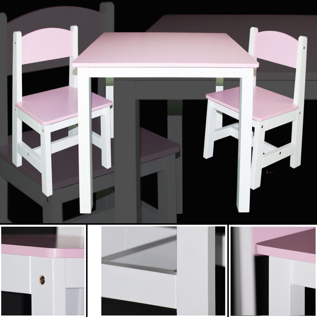 Kindertisch & 2x Kinderstühle ROSA pink mit WEISS Schreibtisch Tisch Sitzgruppe