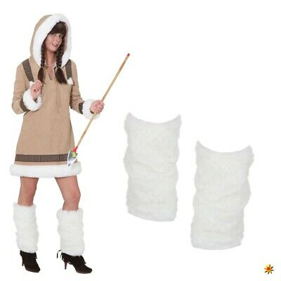 Eskimo Fellstulpen weiß Kostüm Zubehör Fasching Hippie Alaska (Weiße Kostüm Stiefel)