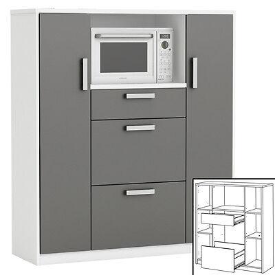 Küchenschrank 8540 Schrank Küchenregal Küchenmöbel Mikrowelle Buffet Küche weiß