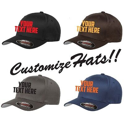 CUSTOM EMBROIDERY Personalized Customized Flat Yupoong Flexfit Fitted Cap (Yupoong Flat)