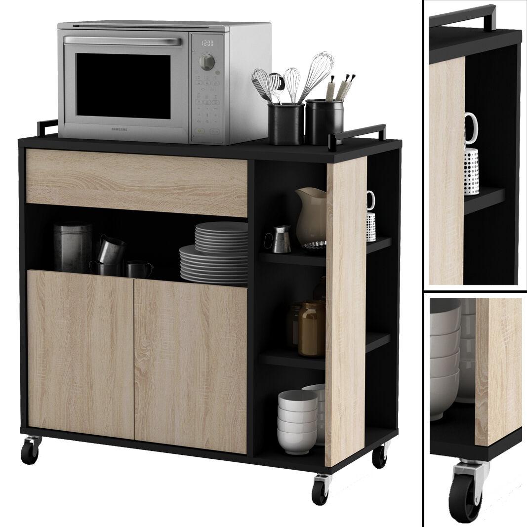 Küchenwagen EICHE mit schwarz Küchentrolley Schublade Küchenschrank Küchenhelfer
