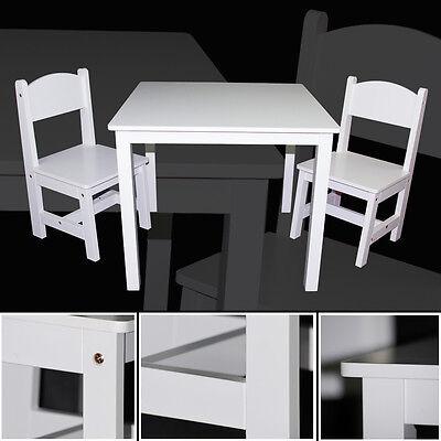Kinder Tisch Stuhl (Kindertisch & 2x Kinderstühle WEISS Schreibtisch Tisch Sitzgruppe Stuhl Set)