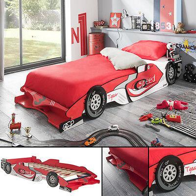 🏁 Kinderbett RACER 190x90cm 200x90cm Jugendbett Autobett rot Bett  F1 Rennwagen