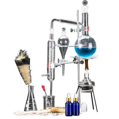 New 500ml Lab Distillation Apparatus Essential Oil Pure Water Glassware Kits