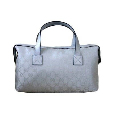 NEW Authentic GUCCI GG Silver Canvas Boston Bag Bowling bag Handbag 264210