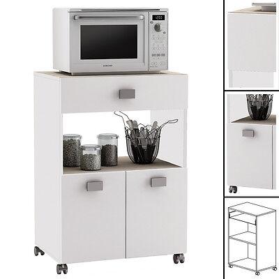 Küchenwagen 145 AKAZIE WEISS Küchentrolley Schublade Küchenschrank Küchenhelfer - Weiße Küche, Trolley