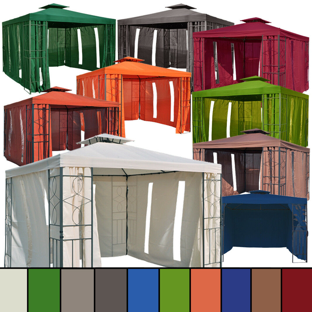 4 SEITENTEILE f.Pavillon 3x3 beige braun grün terrakotta anthrazit blau bordeaux