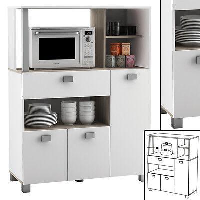 Küchenschrank 146 Schrank Küchenregal Küchenmöbel Mikrowelle Buffetschrank weiss