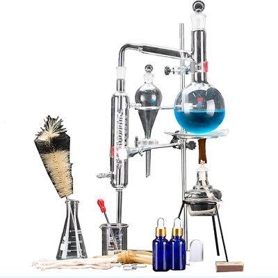 500ml New Lab Distillation Apparatus Essential Oil Pure Water Glassware Kits