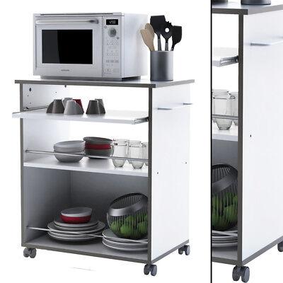 Küchenwagen #291 WEISS GRAU ausziehbare Arbeitsplatte Küchentrolley Servierwagen