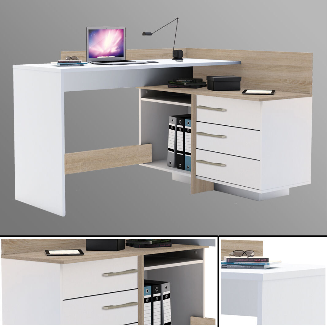 Eck-Schreibtisch #881 SONOMA EICHE weiß Computertisch Eckschreibtisch PC-Tisch