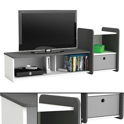 Tv-bank (TV-Bank FOOT #610 weiß anthrazit TV Tisch Phonomöbel HiFi Schrank Kinderzimmer)