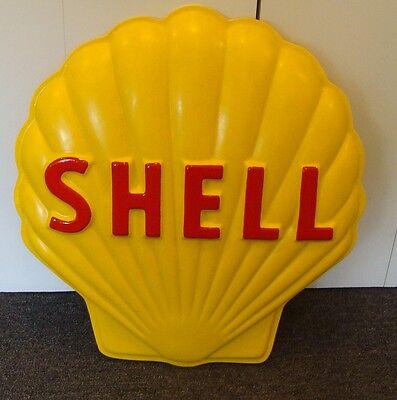 SHELL GASOLINE HEAVY FIBERGLASS EMBOSSED ADVERTISING SIGN CLAM *gas & oil
