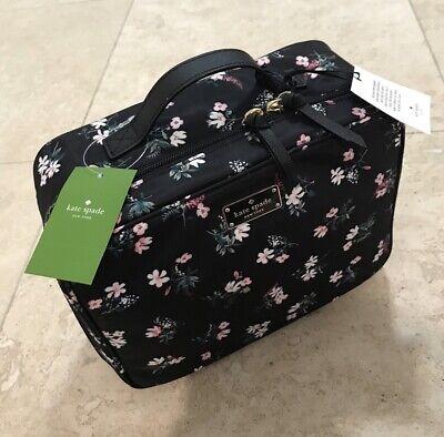 NWT Kate Spade Martie Wilson Road Floral Travel Cosmetic Toiletries Bag Black