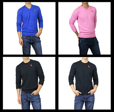 New Abercrombie A F by Hollister Men Crew V Neck Sweaters Cardigan Muscle Size