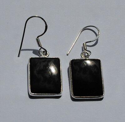 Onyx Ohrringe in 925 Sterlingsilber, schwarze Edelstein Ohrhänger in Silber ()