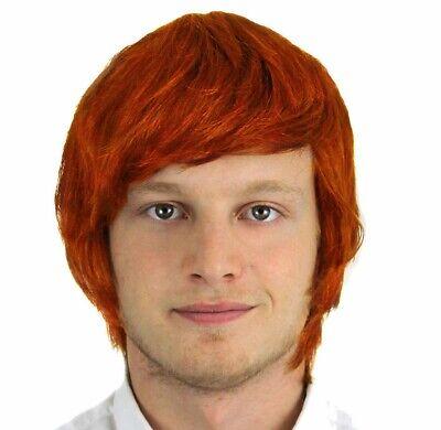 Mens Ginger Wig (MENS ADULTS GINGER WIG BOY BAND FANCY DRESS ACCESSORY POP STAR FILM)