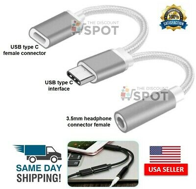 2 in 1 Type-C USB C to 3.5mm AUX Audio Headphone Jack Adapter Charger Cable S