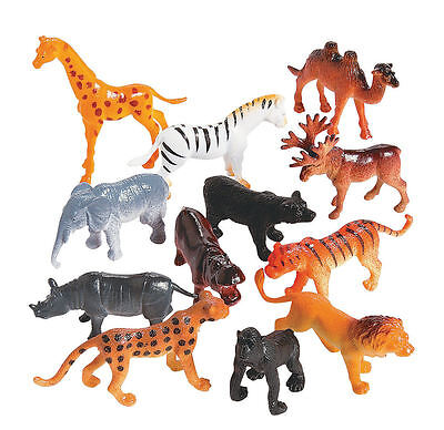 Jungle Animals Toys (12 SAFARI WILD ANIMALS Zoo Jungle PARTY FAVORS CUPCAKE TOPPER Toys Goody)