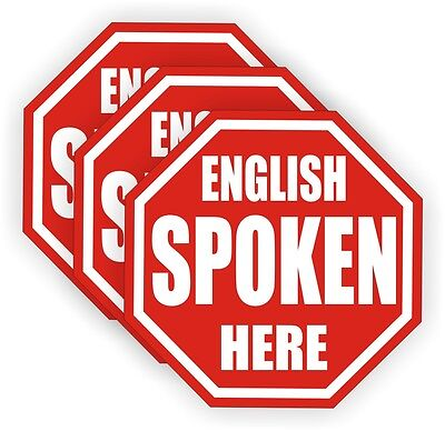 3 English Spoken Here Hard Hat Decals Labels Stickers Construction Laborer