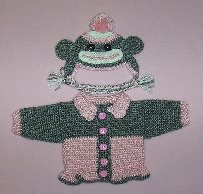 Sock Monkey Clothes (American Girl Doll Clothes Pink Sock Monkey Sweater Hat Fits American Girl)