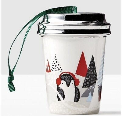 Starbucks Coffee 2016 Holiday Penguin and Pine Trees Ceramic Cup Tree Ornament  (Holiday Penguin)
