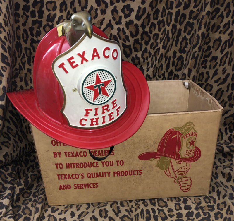 Vintage Texaco Fire Chief Hat Helmet Toy Childs Brown & Bigelow USA Microphone