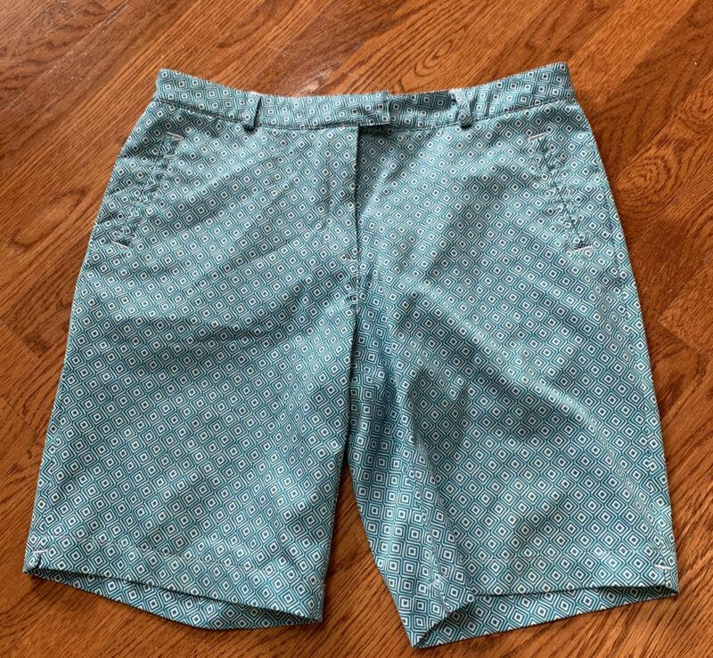 Lady Hagen Essentials Golf Shorts Size  10 Teal & White - EUC!
