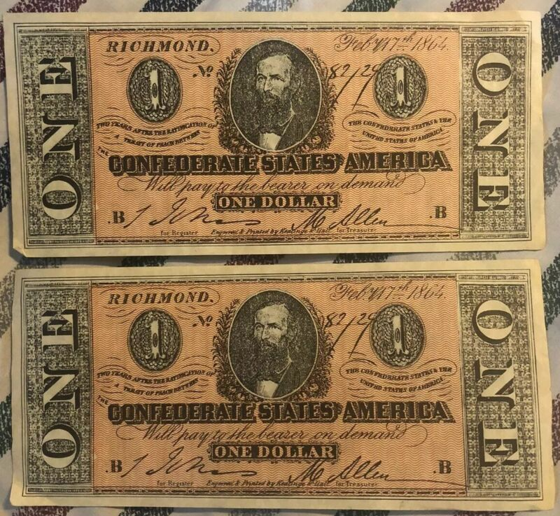 1864 Confederate States of America - Lot Of 2 - $1 One Dollar Bill Facsimile
