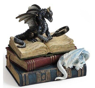 "5"" Miniature Scholars Trinket Box Dragons Statue Sculpture Figure Fantasy Decor"
