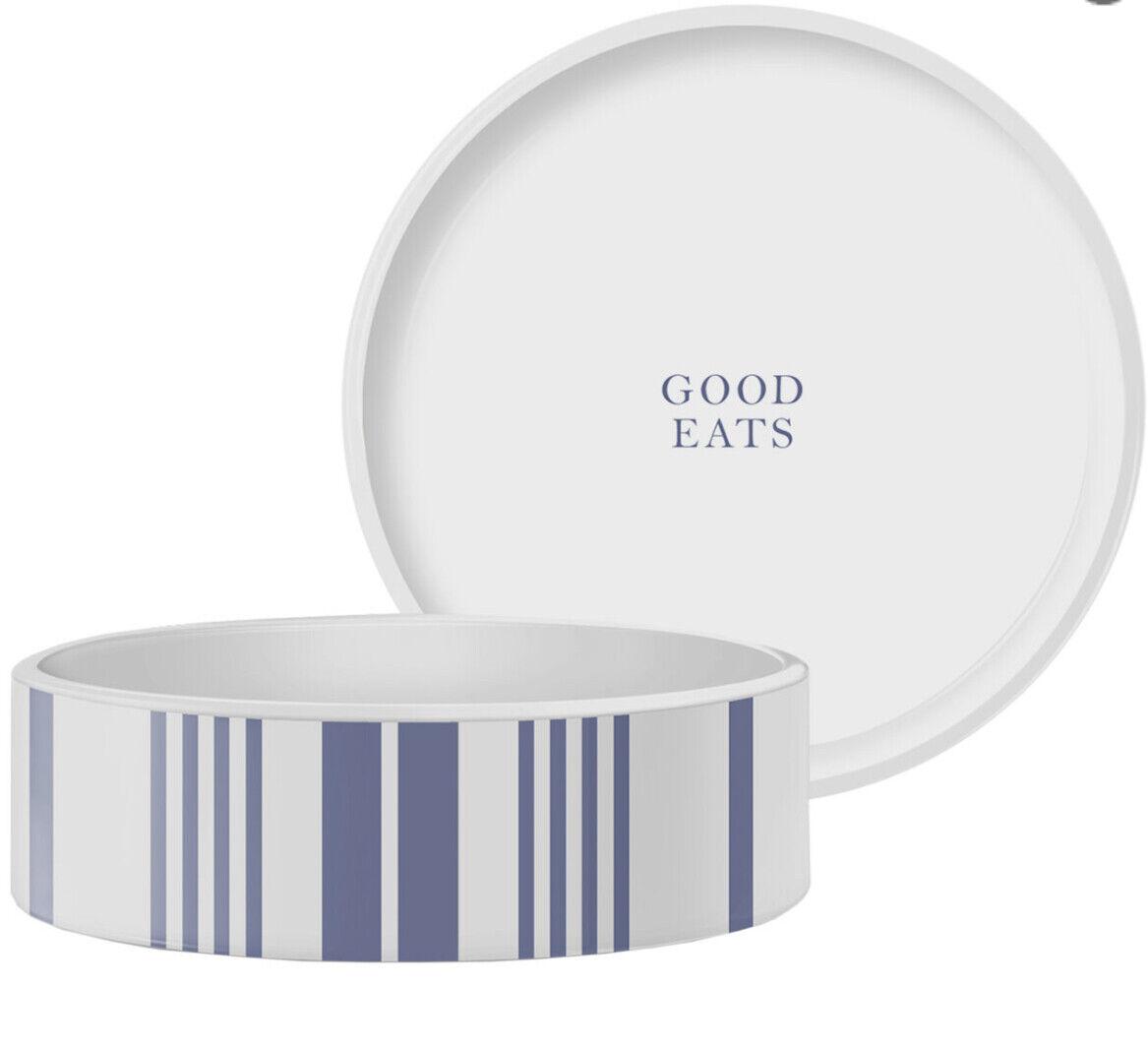"Pet Bowl ""Good Eats"" Striped Pet Food Bowl, Medium"