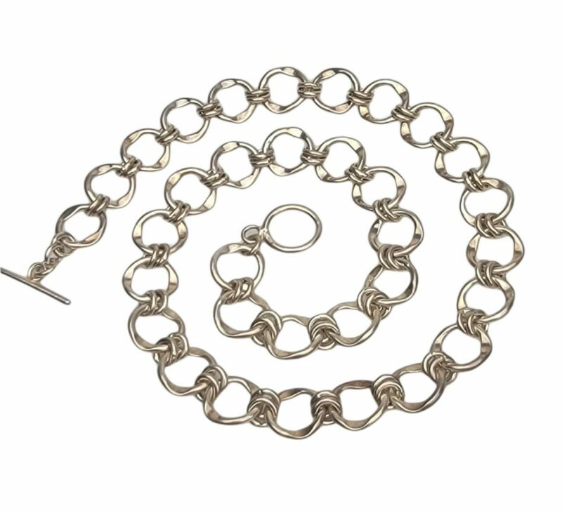 """Cute Vintage Sterling Silver 925 Round Chain Link 18"""" Necklace 42g"""