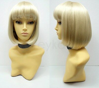 Blonde Short Bob Wig Straight Bangs Synthetic Cosplay Page Boy 9