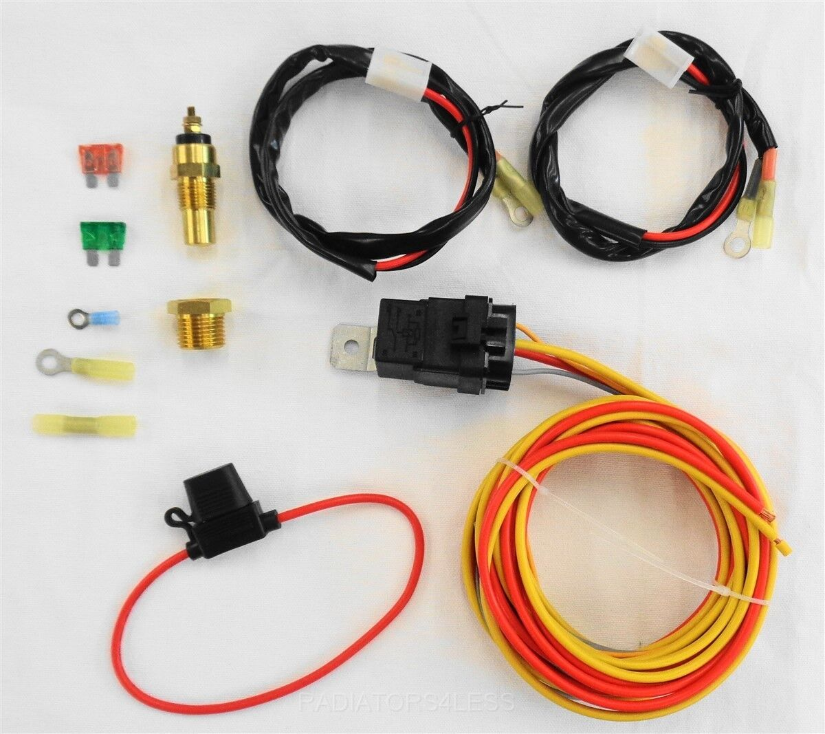 radiators4less new dual electric cooling fan wiring install kit 185 165 thermostat 50 amp relay