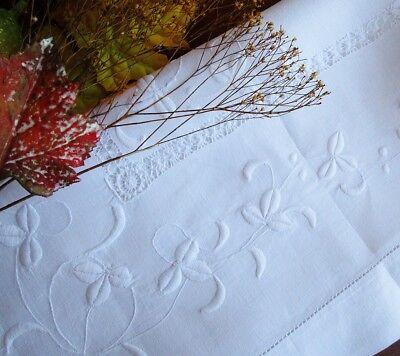 Antique Irish White Linen HAND - EMBROIDERED SHAMROCKS Tablecloth Handmade Lace
