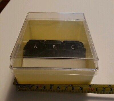 Vintage Business File Organizer With Lid Desk Top Black Index Address Cards