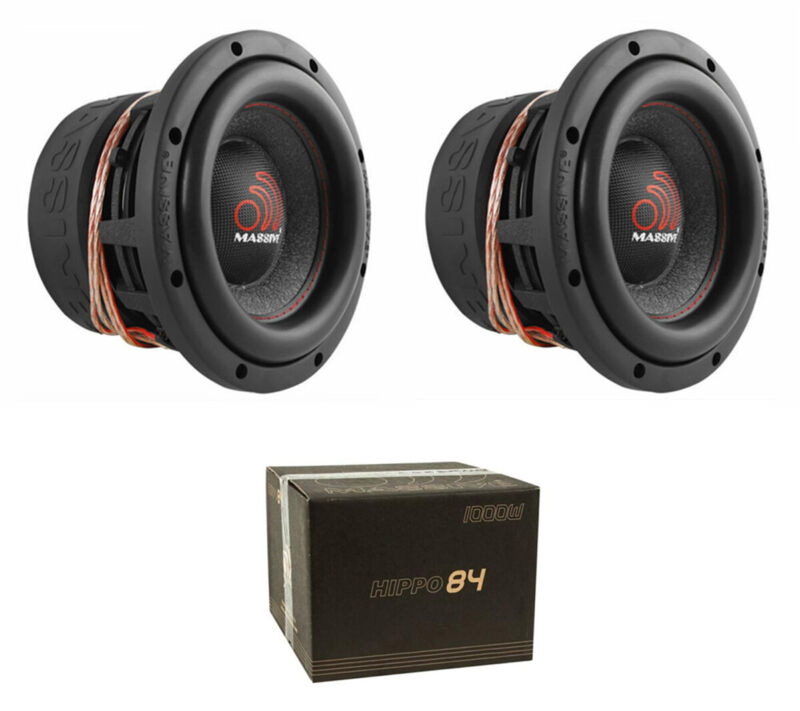 "2x Massive Audio HIPPO84 2000 W Max 8"" Dual 4 Ohm DVC Car Stereo Subwoofer"
