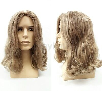 Mens Light Brown and Dark Blonde Long Hair Wig Hippie Jesus Grunge Costume 14