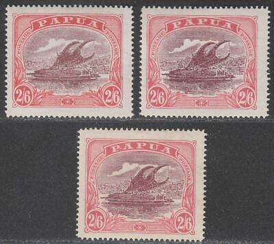 Papua 1919-27 KGV Lakatoi Canoe 2sh6d Maroon + Pink Shades Mint SG103-SG103a