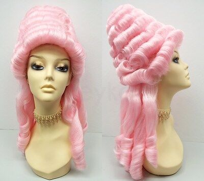 Marie Antoinette Pink Wig Costume Colonial Baroque Masquerade Updo 1700s
