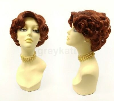 Auburn Red Wig Short Curly 50s Retro Costume Pin Up Vintage Gatsby Old - Pin Up Wig