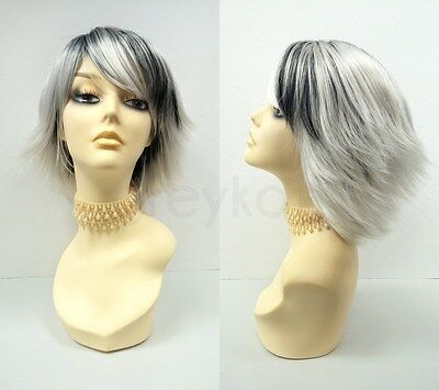 Silver Gray and Black Short Shag Layered Wig w/ Bangs Storm Costume Cosplay Wig](Wigs And Costumes)