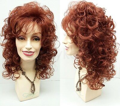 Curly Long Dolly Parton Style Wig Auburn Red Bangs Big Roller Curls Drag 18