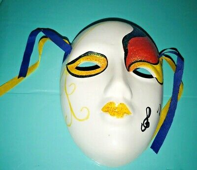 Two New Vintage Decorative Ceramic Porcelain Carnival Masks Wall Plaque Sale](Vintage Carnival Decorations)