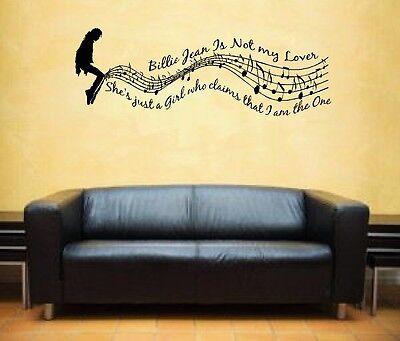 Michael Jackson Billie Jean Music Lyrics Notes Vinyl Sticker Wall Art Decal