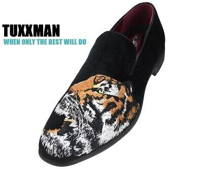Men's Faux Velvet Embroidery Tiger Slip on Shoes Black Orange Tuxedo TUXXMAN](Orange Tuxedo Shoes)