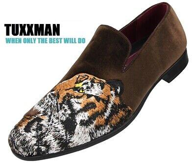 Men's Faux Velvet Embroidery Tiger Slip on Shoes Brown Orange Tuxedo TUXXMAN](Orange Tuxedo Shoes)