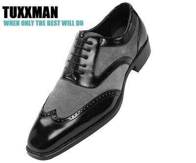 New Men's Black & Grey Wing Tip Oxford Dress Shoes Formal Holiday Gift Lace - Wing Tip Oxford Lace